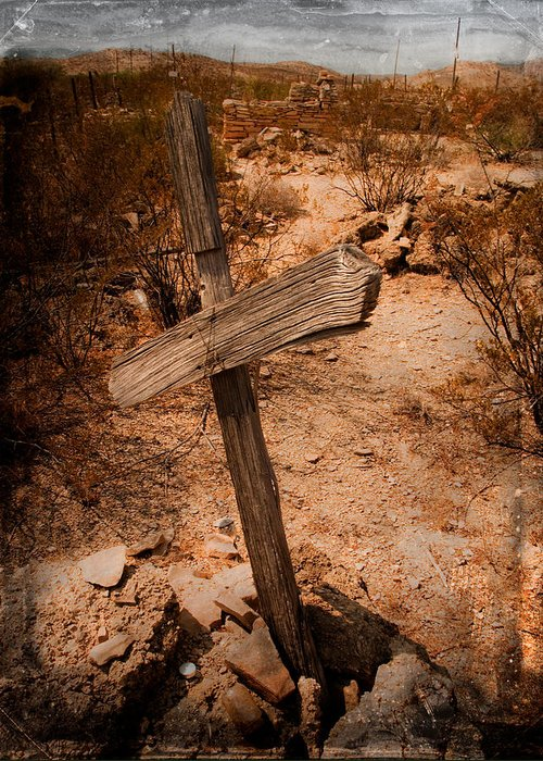 Photography Greeting Card featuring the photograph Ghost Town Cross by Sonja Quintero