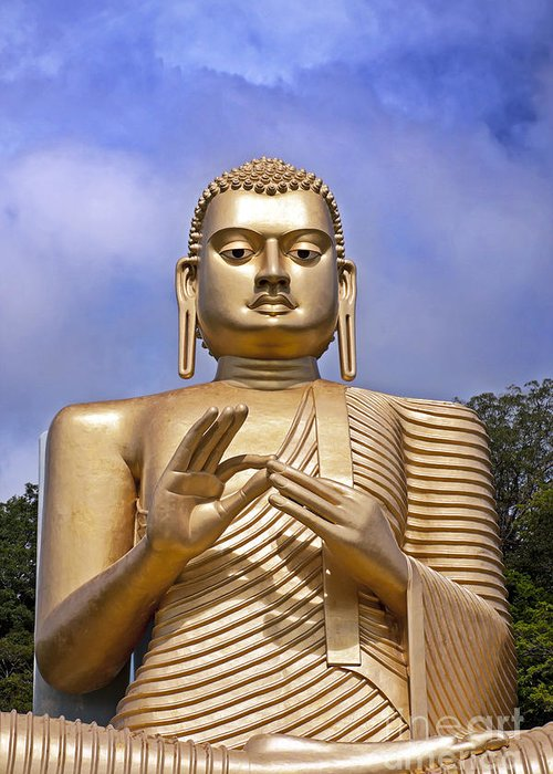 Ancient Greeting Card featuring the photograph Giant Gold Bhudda by Jane Rix