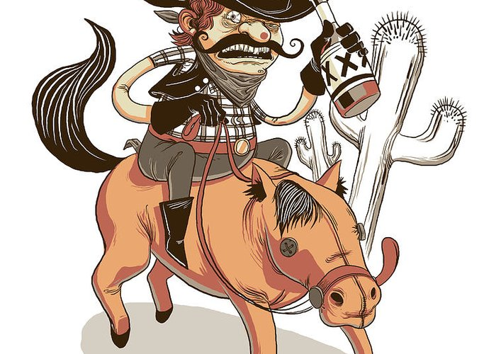 Cowboy Greeting Card featuring the digital art Giddy Up by Michael Myers