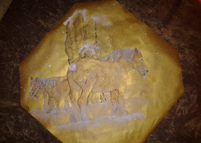 Gilded Rice Paper. Equine. Draft. Brabant. Tree. Snow Greeting Card featuring the painting gilded Brabant by Debbi Saccomanno Chan