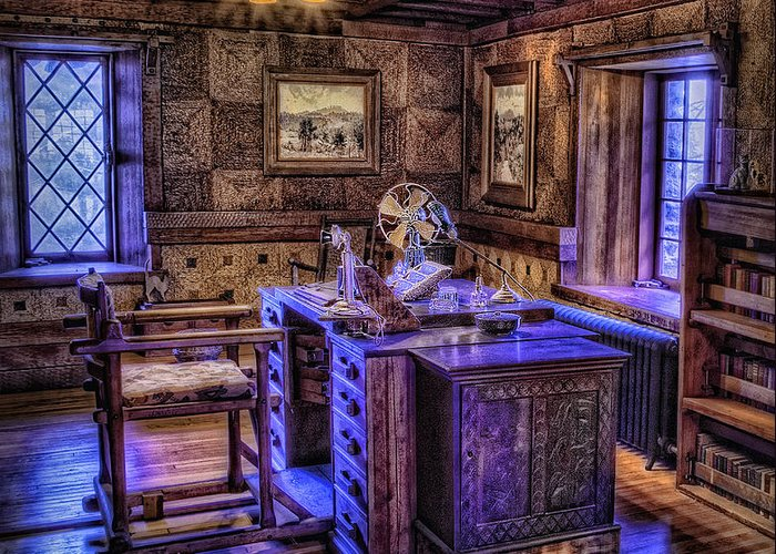 Castle Greeting Card featuring the photograph Gillette Castle Office Hdr by Susan Candelario