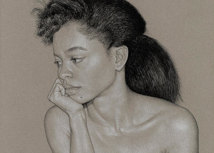 Charcoal Greeting Card featuring the drawing Gillian 1 by David Kleinsasser