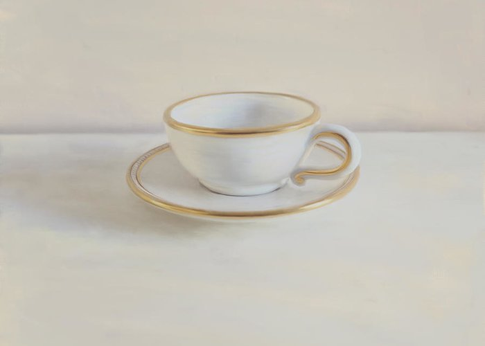 Gilt Cup Greeting Card featuring the photograph Gilt Cup On White Marble by Paul Grand