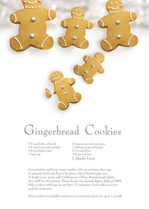Background Greeting Card featuring the photograph Gingerbread Men Cookies Against Cookie Receipe by Sandra Cunningham