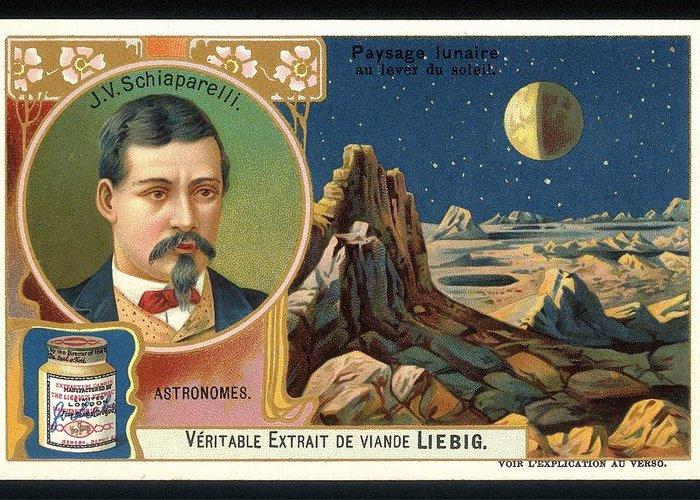 Giovanni Schiaparelli Greeting Card featuring the photograph Giovanni Schiaparelli Lunar Advert by Detlev Van Ravenswaay