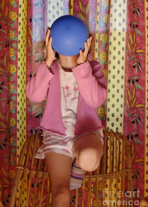 Balloon Greeting Card featuring the photograph Girl Blowing Up Balloon by Sami Sarkis