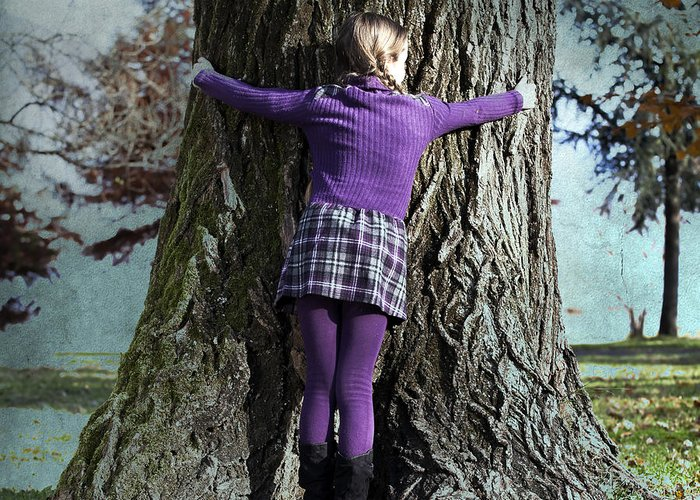 Girl Greeting Card featuring the photograph Girl Hugging Tree Trunk by Joana Kruse