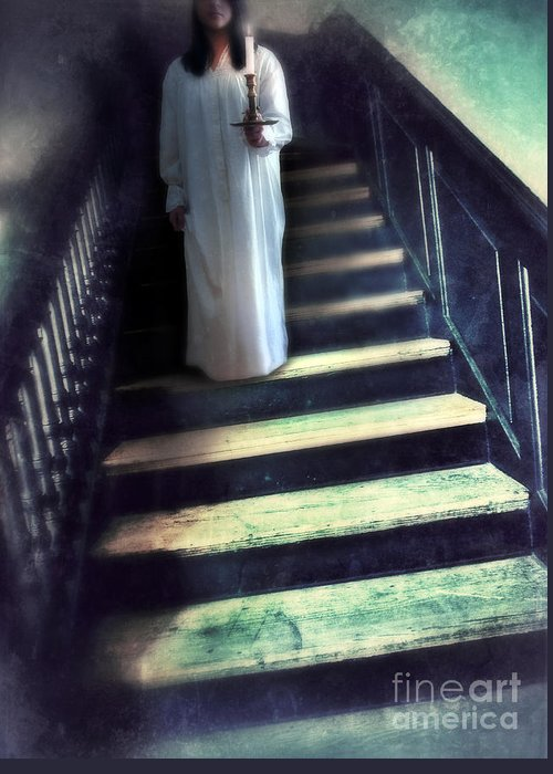 Woman Greeting Card featuring the photograph Girl In Nightgown On Steps by Jill Battaglia