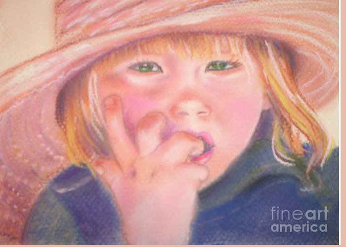Child Greeting Card featuring the pastel Girl In Straw Hat by Julie Brugh Riffey