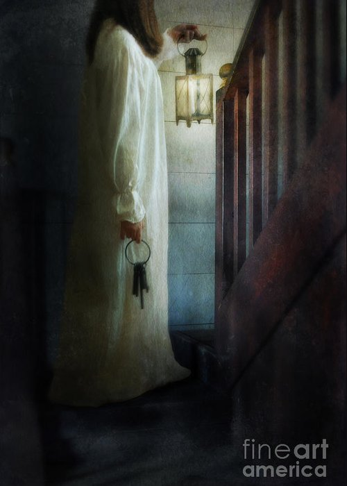 Woman Greeting Card featuring the photograph Girl On Stairs With Lantern And Keys by Jill Battaglia