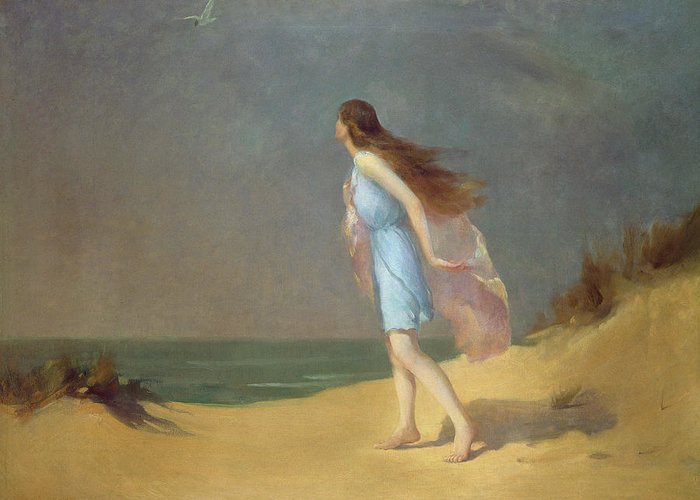 Girl Greeting Card featuring the painting Girl On The Beach by Frank Richards