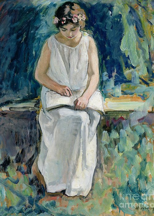 Jeune Fille Lisant; Female; Portrait: Dress; Book; Circlet; Garden; Seated; Floral Garland; Leisure; Girl Reading Greeting Card featuring the painting Girl Reading by Henri Lebasque