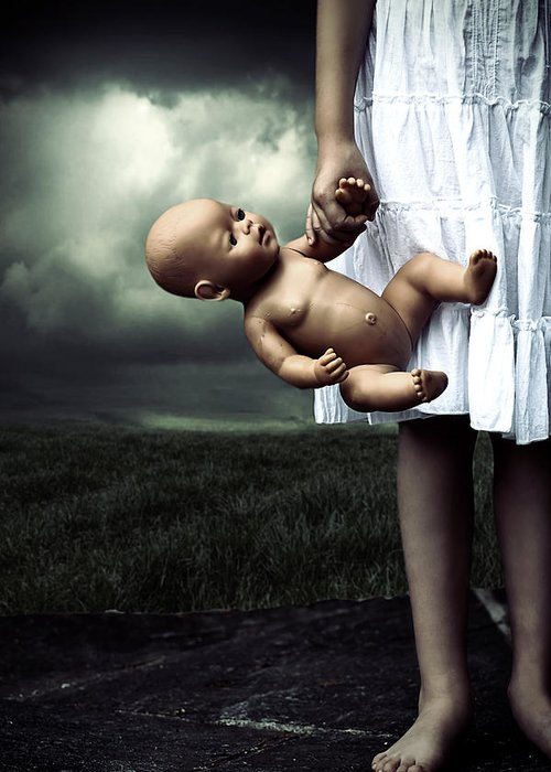 Girl Greeting Card featuring the photograph Girl With A Baby Doll by Joana Kruse
