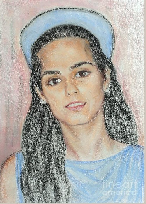 Portrait Greeting Card featuring the painting Girl With A Blue Cap by Ziba Bastani