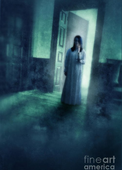 Woman Greeting Card featuring the photograph Girl With Candle In Doorway by Jill Battaglia