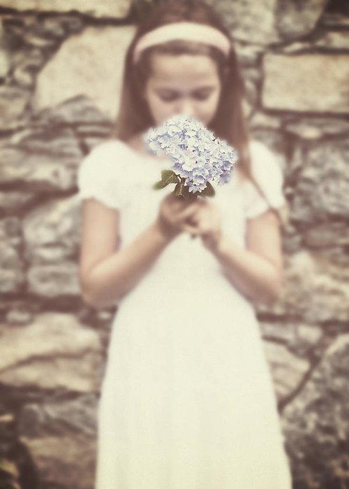 Girl Greeting Card featuring the photograph Girl With Hydrangea by Joana Kruse