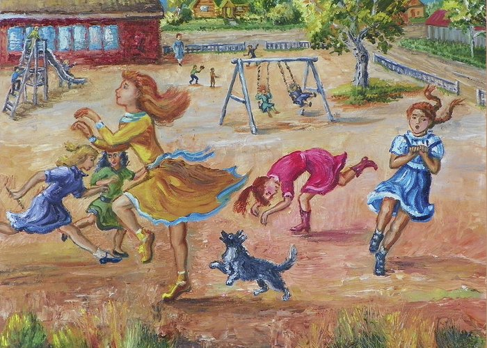 Children Greeting Card featuring the painting Girls Playing Horse by Dawn Senior-Trask