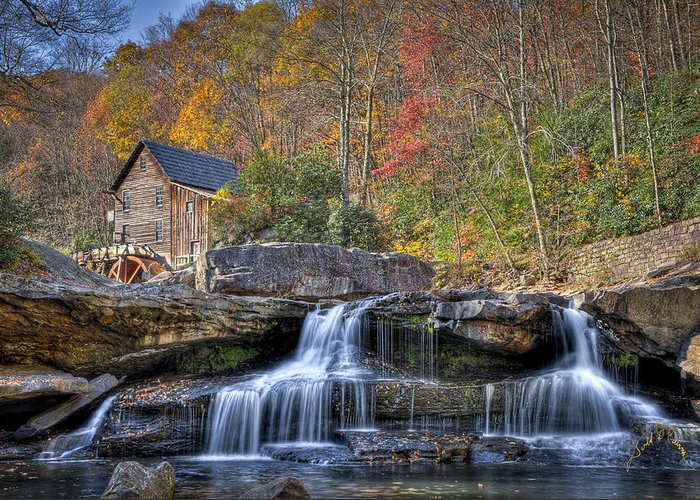 West Virginia Greeting Card featuring the photograph Glade Creek Grist Mill At Babcock by Williams-Cairns Photography LLC