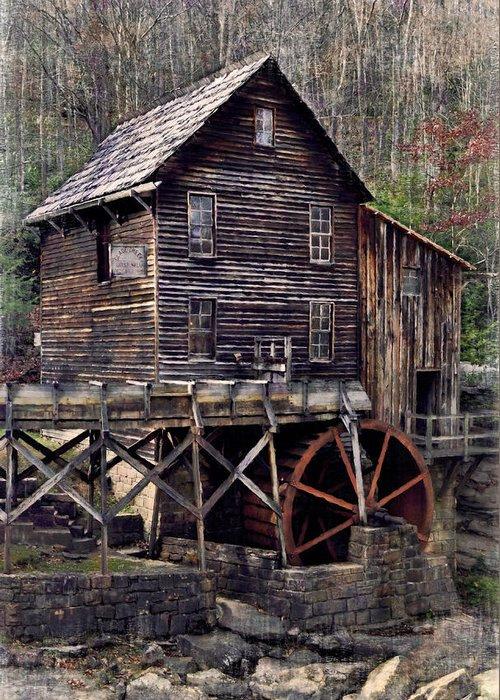 Glade Creek Greeting Card featuring the photograph Glade Creek Grist Mill Series II by Kathy Jennings
