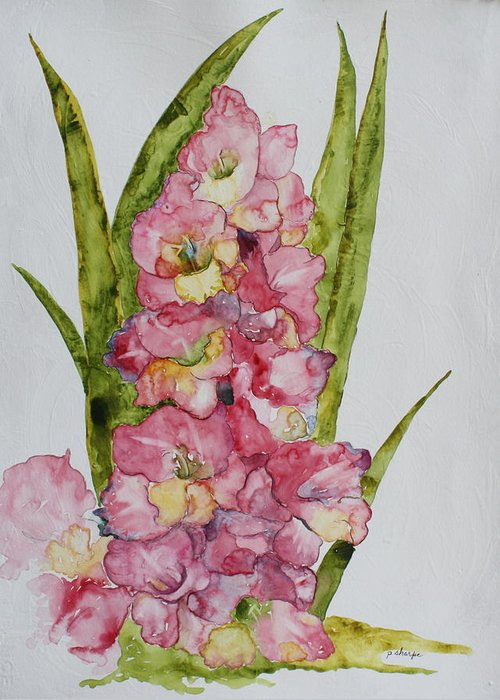 Gladiolas Greeting Card featuring the painting Gladiolas by Patsy Sharpe