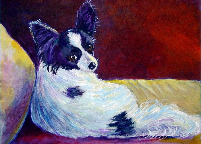 Animals Greeting Card featuring the painting Glamor - Papillon Dog by Lyn Cook