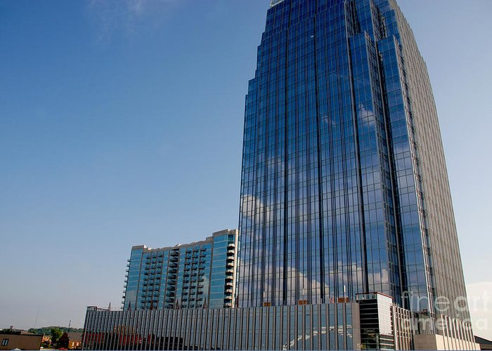 Glass Buildings Greeting Card featuring the photograph Glass Buildings Nashville by Susanne Van Hulst