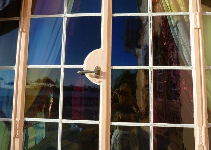 Window Greeting Card featuring the photograph Glass Hues by Florene Welebny