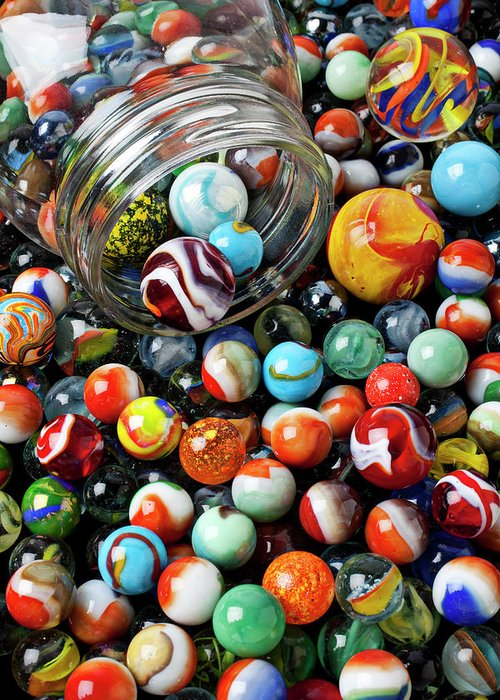 Glass Greeting Card featuring the photograph Glass Jar And Marbles by Garry Gay