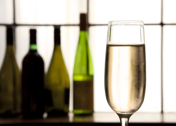 Alcohol Greeting Card featuring the photograph Glass Of Champagne by Charlotte Lake