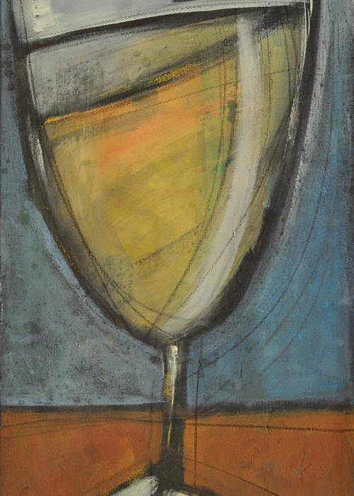 Wine Greeting Card featuring the painting Glass Of White by Tim Nyberg