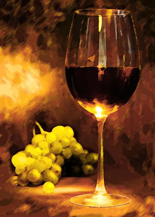 Wine Greeting Card featuring the painting Glass Of Wine And Green Grapes By Candlelight by Elaine Plesser