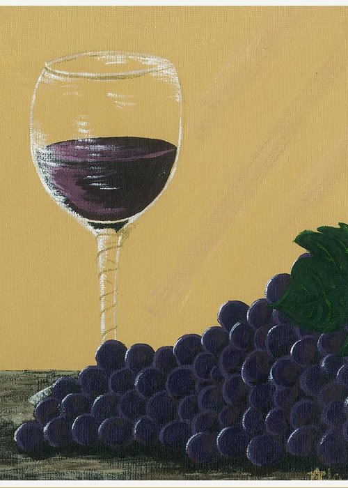 Grapes Greeting Card featuring the painting Glass Of Wine by Starla Rodriguez