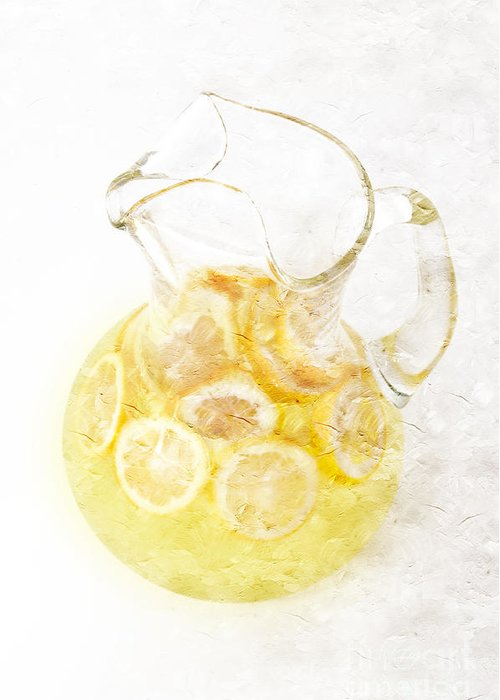 Glass-pitcher-of-lemonade Greeting Card featuring the photograph Glass Pitcher Of Lemonade by Andee Design