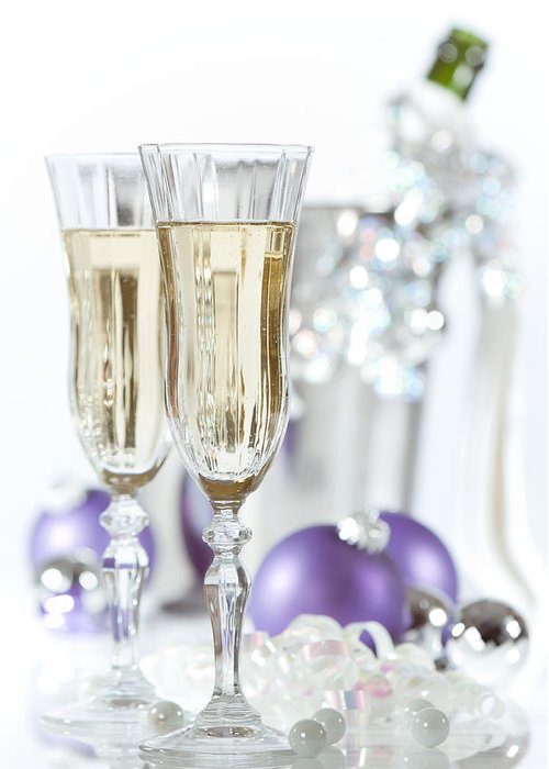 Champagne Greeting Card featuring the photograph Glasses Of Champagne by Amanda Elwell