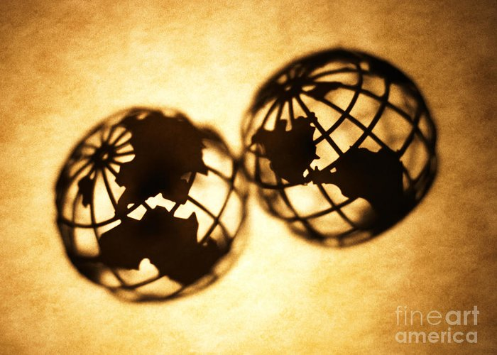 Silhouette Greeting Card featuring the photograph Globe 2 by Tony Cordoza