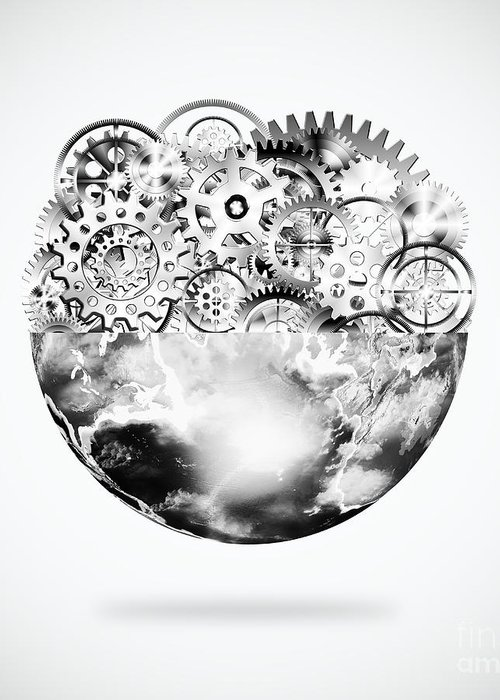 Art Greeting Card featuring the photograph Globe With Cogs And Gears by Setsiri Silapasuwanchai