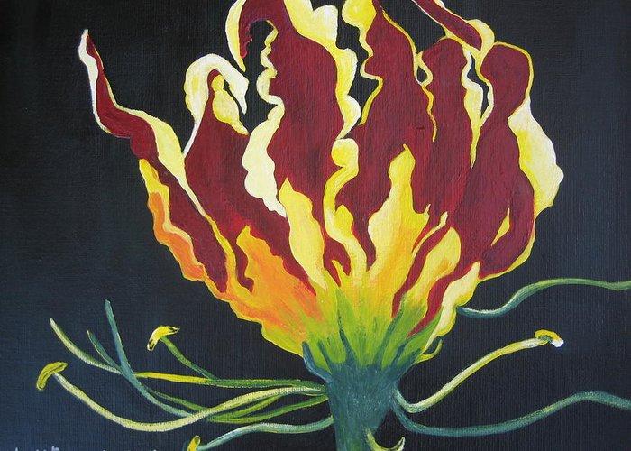 Flora Greeting Card featuring the painting Gloriosa Lily by Berta Barocio-Sullivan