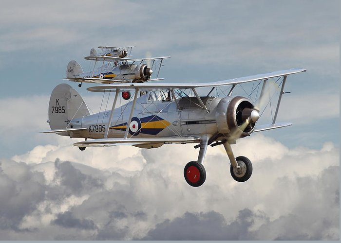 Aircraft Greeting Card featuring the photograph Gloster Gladiator by Pat Speirs