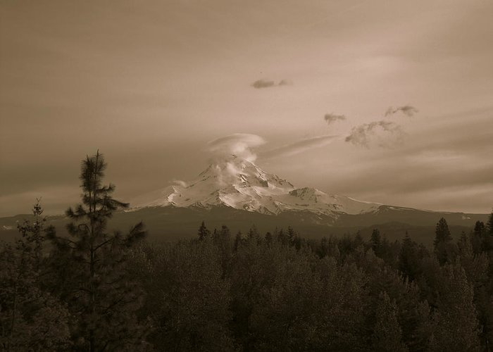 Mt. Hood Greeting Card featuring the photograph Glowing Mt. Hood by Melissa Maderos