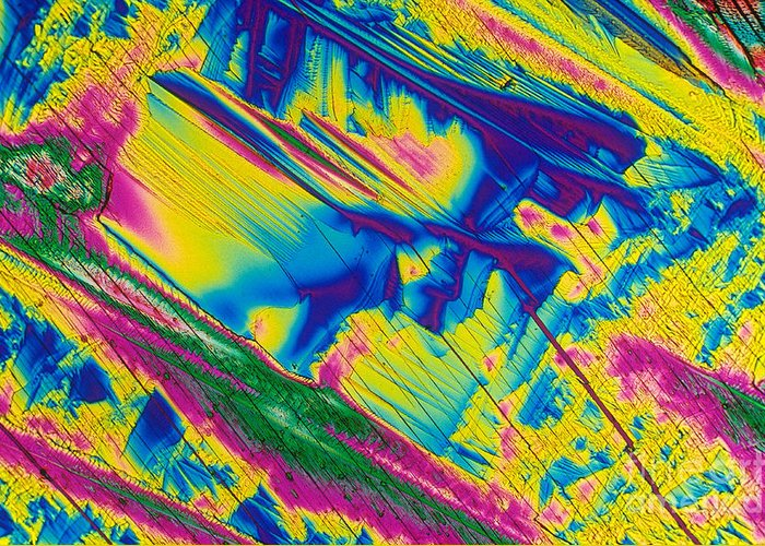 Polarized Light Micrograph Greeting Card featuring the photograph Glutamine by Michael W. Davidson