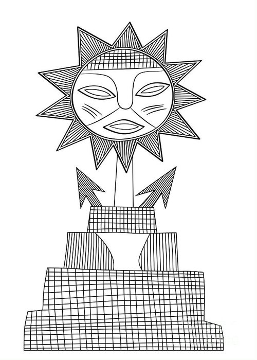 God Greeting Card featuring the drawing God Of Sun by Michal Boubin