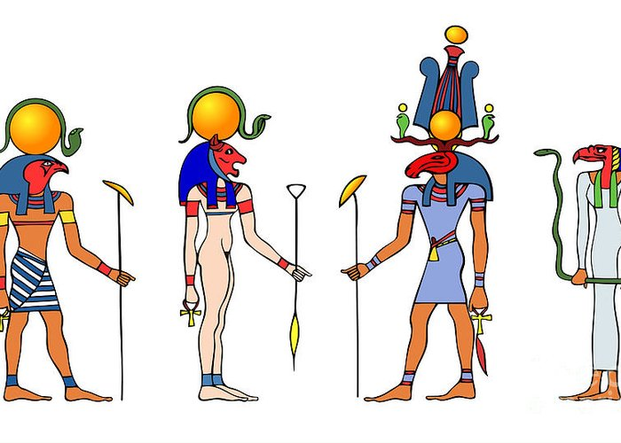 Africa Greeting Card featuring the drawing Gods And Goddess Of Ancient Egypt by Michal Boubin
