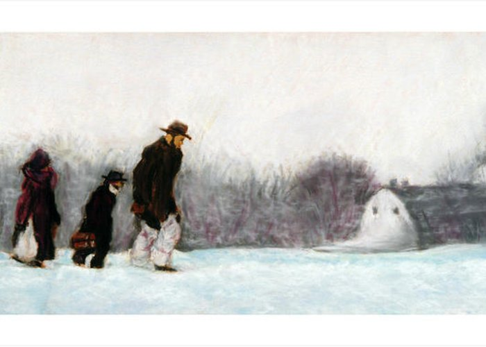 Winter Greeting Card featuring the pastel Going Home by Barry Rothstein