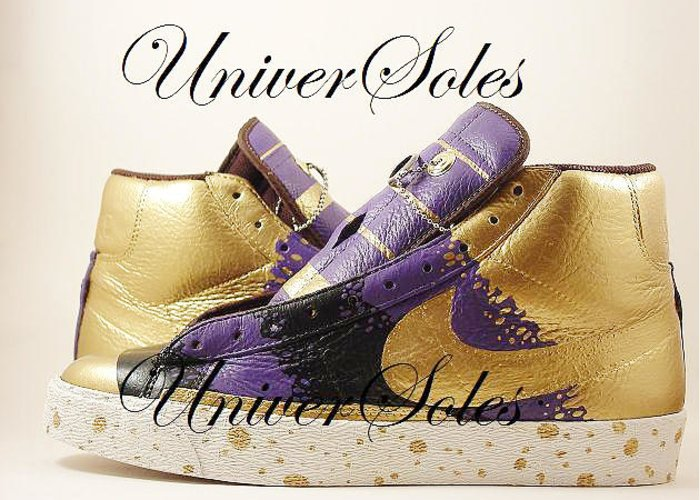 Nike Greeting Card featuring the mixed media Gold And Purp Id Blazers by Joseph Boyd