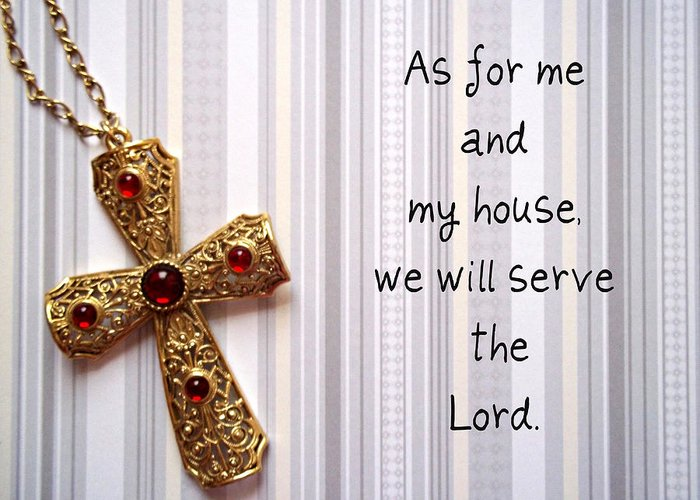 Lord Greeting Card featuring the jewelry Gold Cross by Cynthia Amaral