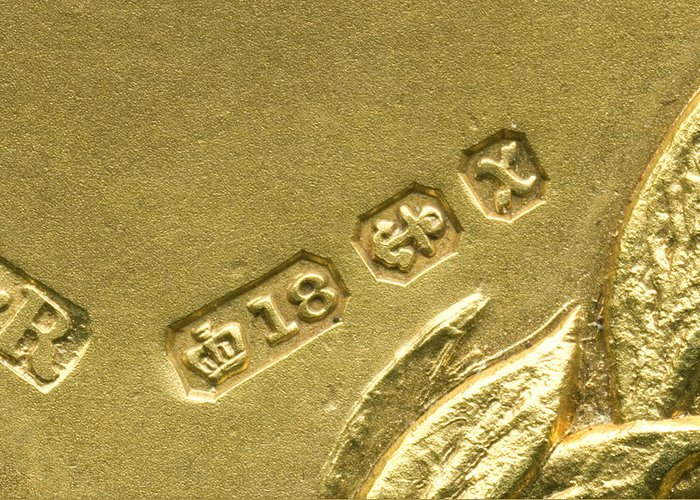Gold Greeting Card featuring the photograph Gold Hallmarks, 1897 by Sheila Terry