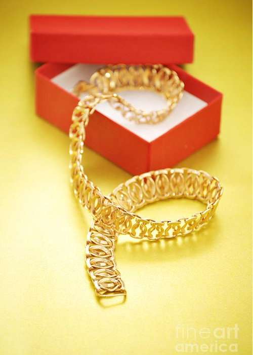 Luxury Greeting Card featuring the photograph Gold Necklace by HD Connelly