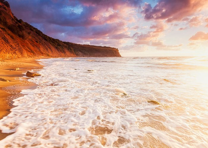 Black Sea Greeting Card featuring the photograph Golden Bay by Evgeni Dinev