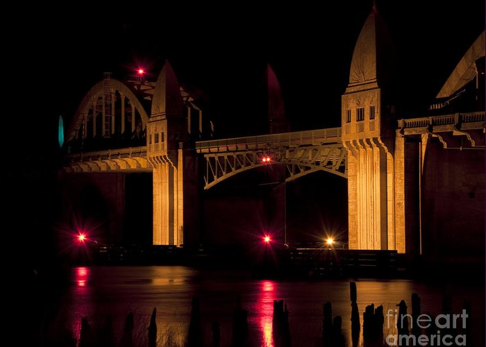 Siuslaw River Bridge Greeting Card featuring the photograph Golden Bridge by James Buch