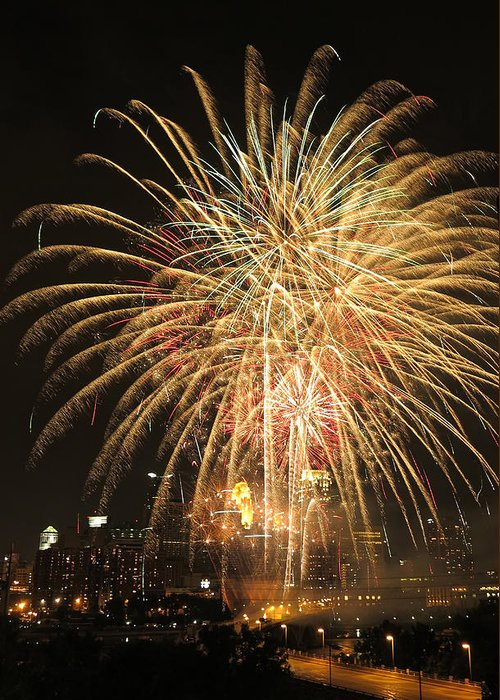 Fireworks Greeting Card featuring the photograph Golden Fireworks Over Minneapolis by Heidi Hermes